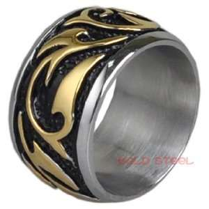 Wide Celtic Mans Ring Gold & Stainless Steel Sz 10 MEN Jewelry