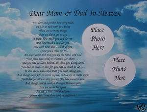DEAR MOM & DAD IN HEAVEN POEM MEMORIAL VERSE IN MEMORY