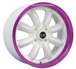15 ROTA RIMS RB PURPLE CRX FIT INTEGRA GSR CIVIC SI EX