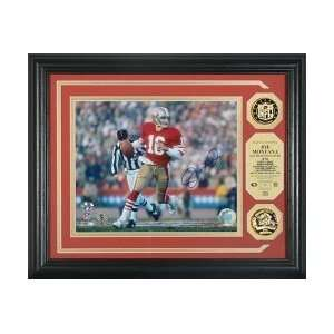 Joe Montana San Francisco 49ers Signed Photomint w/ 2 Gold