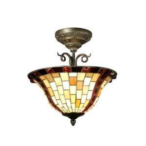 Dale Tiffany TH70647 Baroque Semi Flush Mount Light, Antique Bronze