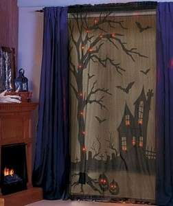 OPERATED SPOOKY LIGHTED SCARY HALLOWEEN window panel CURTAIN 47 X 84