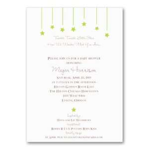 Falling Stars Green Invitation Baby Shower Invitation