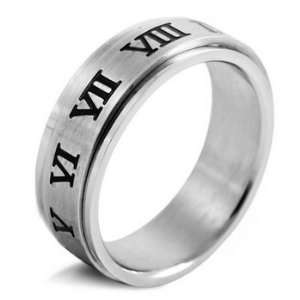 MENS Silver Stainless Steel Roman Numerals Rings Wedding