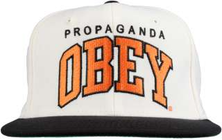 Obey Clothing Throwback Snapback Hat   Natural/Black