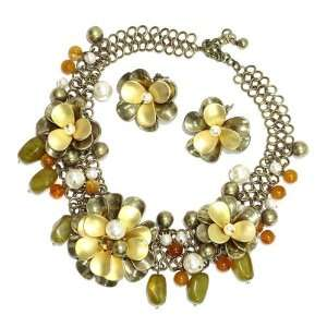 Brushed Gold Metal; Cream Pearls; Carnelian Beads; Lobster Clasp