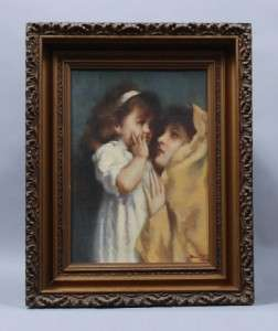 MAJOR AMERICAN MUSEUM QUALITY SIGNED PORTRAIT MOTHER & CHILD WOMAN OIL