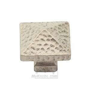 arts & crafts square pyramid knob in aged silver