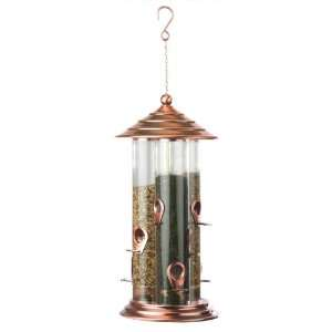 Avant Yarde Copper Finish Triple Tube Bird Feeder Patio