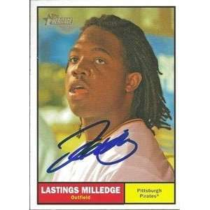 Lastings Milledge Signed Pirates 10 Topps Heritage Card
