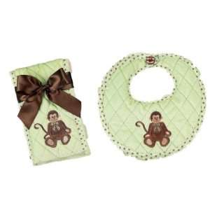 Bearington Bears Giggles Monkey Baby Bib and Burp Cloth Set
