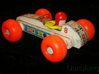FISHER PRICE Vintage Bouncy Racer wooden pull toy #8 from 1960