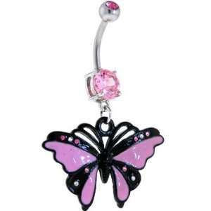 Pink Gem Tickled Purple Butterfly Dangle Belly Ring