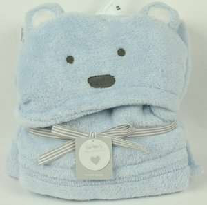 Carters Little Collections Blue Teddy Bear Hooded Baby Blanket