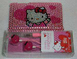 HELLO KITTY IPOD Touch 3g 3 Case RHINESTONE Cover Earbud Set PINK
