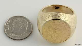 Quarter Eagle 90% Pure Coin Ring   14k Yellow Gold Band 21.9g