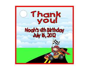 Racing Race Cars Boy Birthday Favors Gift Tags Square Personalized