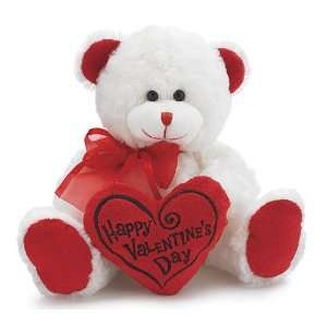 White & Red Happy Valentines Day Plush Teddy Bear Stuffed Animal