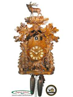 Black Forest Cuckoo Clock 8 Day Carving Wild Boar NEW