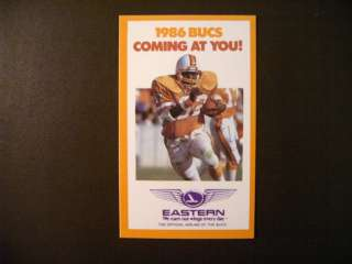 Tampa Bay Buccaneers 1986 NFL pocket schedule   Eastern Airlines