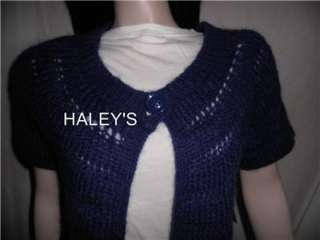 NEW AK ANNE KLEIN BLUE WOOL SWEATER CARDIGAN SIZE LARGE