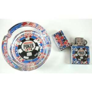 Set  Windproof Lighter & Ashtray, Casino Poker Card Shape Cigarette