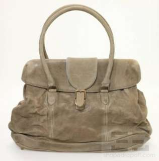 Brunello Cucinelli Taupe Distressed Leather Buckle Strap Shoulder Bag