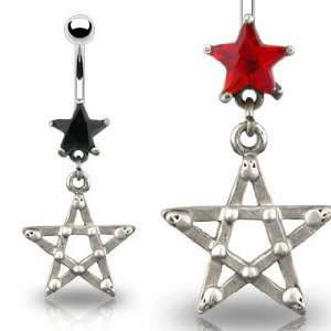 Gothic Star Belly Ring with Red Star Cubic Zirconia   14G