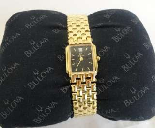 by Bulova Ladies Diamond Accent Black Dial Gold Tone Watch