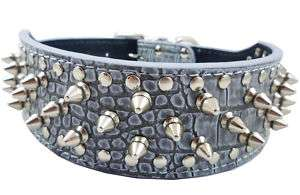 Studs Spikes Croc Leather Dog Collar Medium 17 20 Pit Bull Boxer