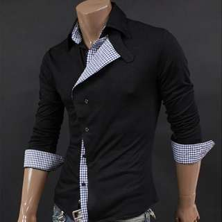 Men Casual Slim Fit long Dress Shirts 2color 3size C21