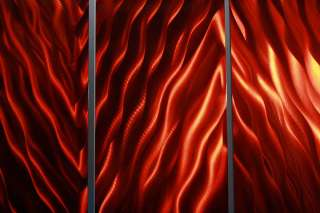 Modern Red Jewel Toned Abstract Metal Wall Art Painting Sculpture