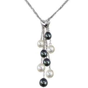 Pearl Multi Strand Silver Chain Lariat w. Heart Shaped Crystal Slider