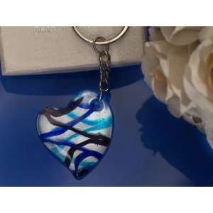 Murano Art Deco Blue and Silver Heart design Keychain From