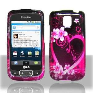 Purple Love Hard Case Snap on Cover LG Optimus T P509