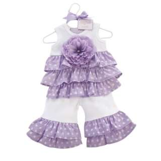 Mud Pie Purple 2 Piece Ruffle Pant Set Outfit Pageant Casual Wear 2 3T