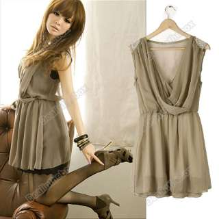 Corea Women Deep V neck Chiffon Sleeveless Mini Dress