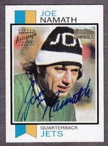 2001 JOE NAMATH TEAM TOPPS LEGENDS Certified Autograph Issue On Card