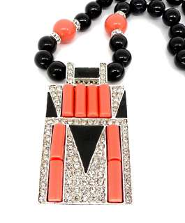 Kenneth Jay Lane Black & Coral Art Deco Design Beaded Necklace