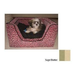 Snoozer Luxury Square Pet Bed, Large, Sage/Butter