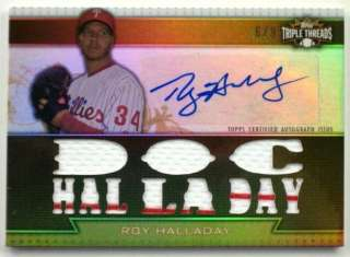 2011 Triple Threads ROY HALLADAY Jersey~Autograph #6/9 *Phillies* Auto