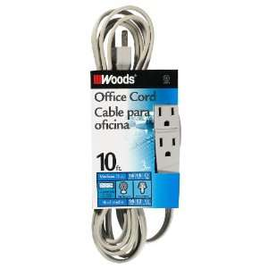 Woods 5607 10 Foot 3 Outlet Extension Cord, Gray