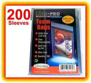 Ultra Pro TEAM SET BAGS 2 Packs Resealable Strip NEW 200 card sleeves