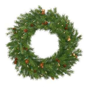 Pre Lit Redwood Pine With Cones Christmas Wreath   Clear Dura Lit
