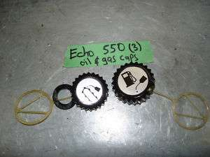 ECHO 550 CHAINSAW FUEL GAS OIL CAP CAPS LID PARTS USED