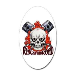 Sticker (Oval) King of the Road Skull Flames and Pistons