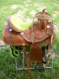 15 WESTERN HORSE LEATHER BARREL SHOW TRAIL SADDLE HEADSTALL TACK LIME