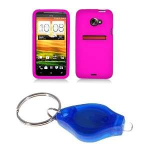 Premium Hot Pink Silicone Skin Case Cover + Atom LED Keychain Light