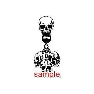 EVIL SKULL ON SKULL WHITE VINYL DECAL STICKER Everything