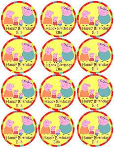 PEPPA PIG Edible Birthday Party Cupcake Image Topper Favor Supply